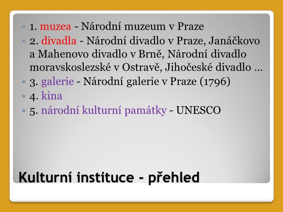 Kulturní instituce - přehled 1. muzea - Národní muzeum v Praze 2.