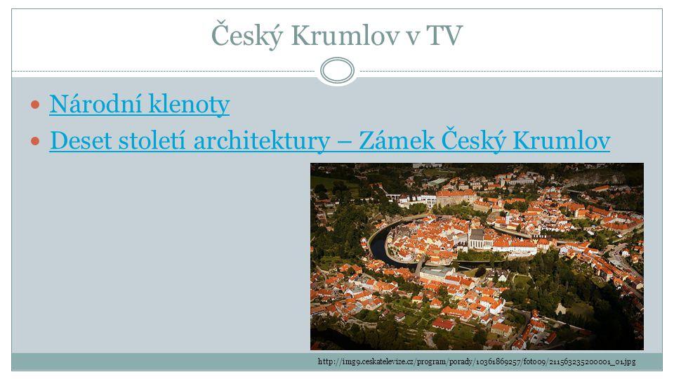 Český Krumlov v TV Národní klenoty Deset století architektury – Zámek Český Krumlov http://img9.ceskatelevize.cz/program/porady/10361869257/foto09/211563235200001_01.jpg