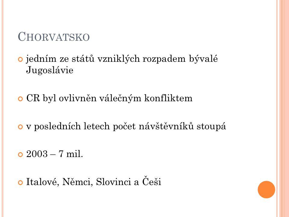 P ŘÍMOŘSKÉ OBLASTI 1/ Istrie 2/ Kvarner 3/ Dalmácie 4/ Splitská oblast 5/ Dubrovnická oblast