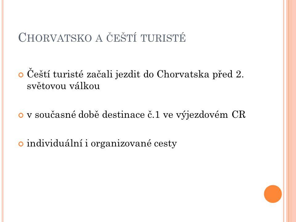 C HORVATSKO A ČEŠTÍ TURISTÉ Čeští turisté začali jezdit do Chorvatska před 2. světovou válkou v současné době destinace č.1 ve výjezdovém CR individuá