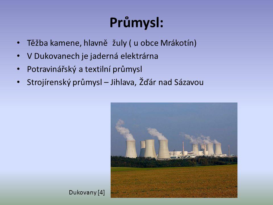 Průmysl: Těžba kamene, hlavně žuly ( u obce Mrákotín) V Dukovanech je jaderná elektrárna Potravinářský a textilní průmysl Strojírenský průmysl – Jihla