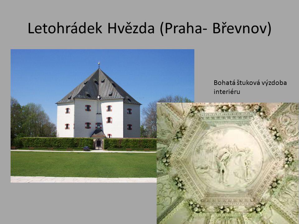 Letohrádek Hvězda (Praha- Břevnov) Bohatá štuková výzdoba interiéru