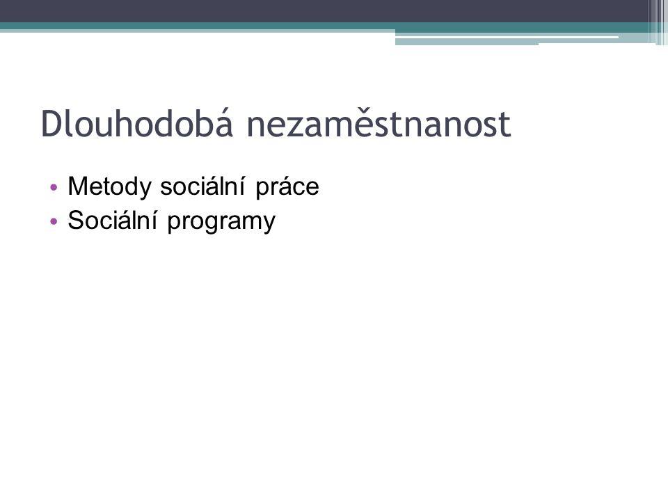 Dlouhodobá nezaměstnanost Metody sociální práce Sociální programy