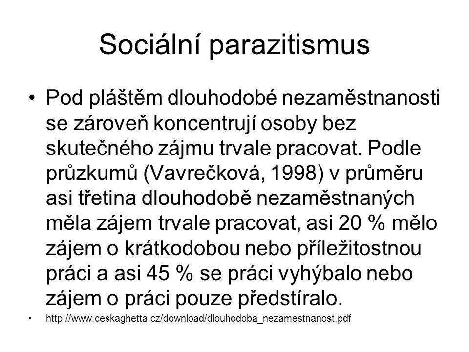 Sociální parazitismus Pod pláštěm dlouhodobé nezaměstnanosti se zároveň koncentrují osoby bez skutečného zájmu trvale pracovat. Podle průzkumů (Vavreč