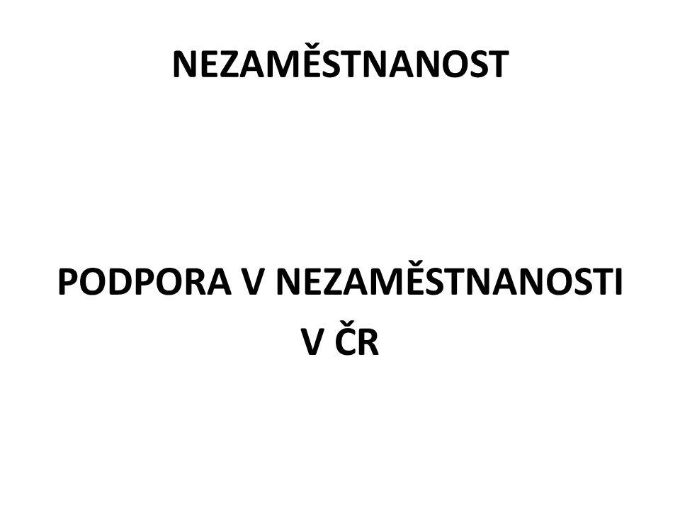NEZAMĚSTNANOST PODPORA V NEZAMĚSTNANOSTI V ČR