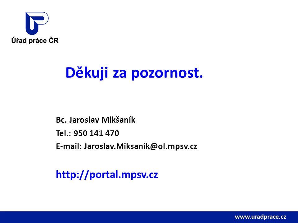 Děkuji za pozornost. Bc. Jaroslav Mikšaník Tel.: 950 141 470 E-mail: Jaroslav.Miksanik@ol.mpsv.cz http://portal.mpsv.cz