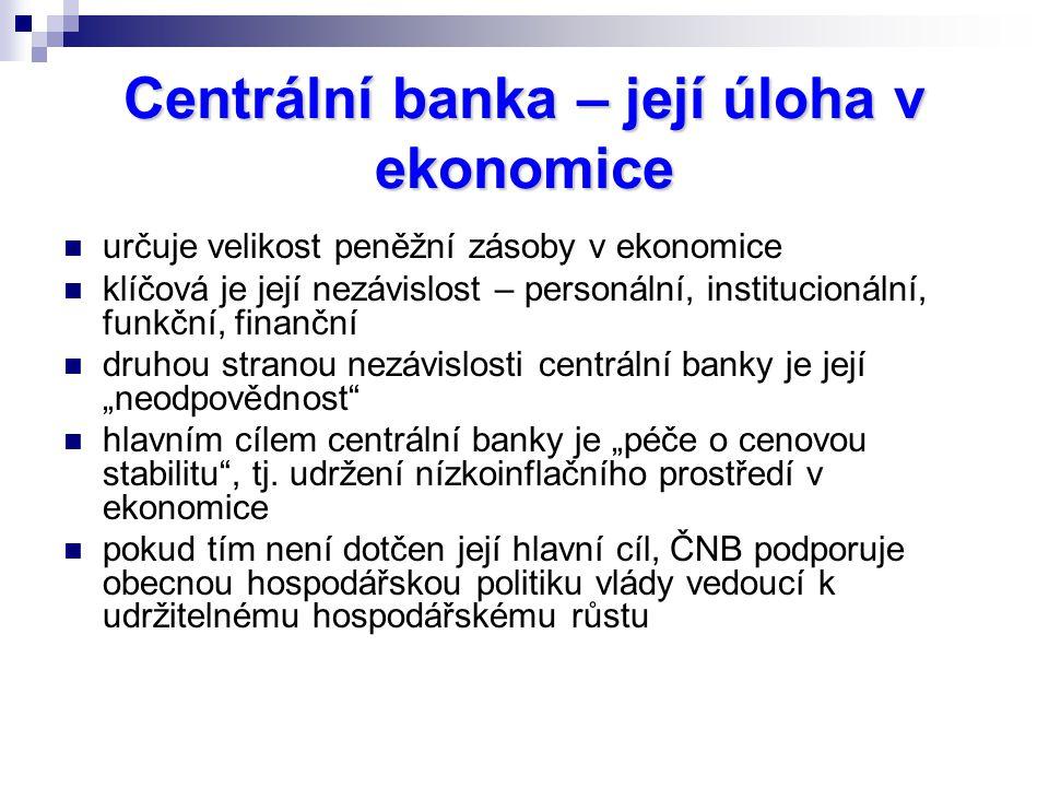 """Centrální banka – její úloha v ekonomice určuje velikost peněžní zásoby v ekonomice klíčová je její nezávislost – personální, institucionální, funkční, finanční druhou stranou nezávislosti centrální banky je její """"neodpovědnost hlavním cílem centrální banky je """"péče o cenovou stabilitu , tj."""