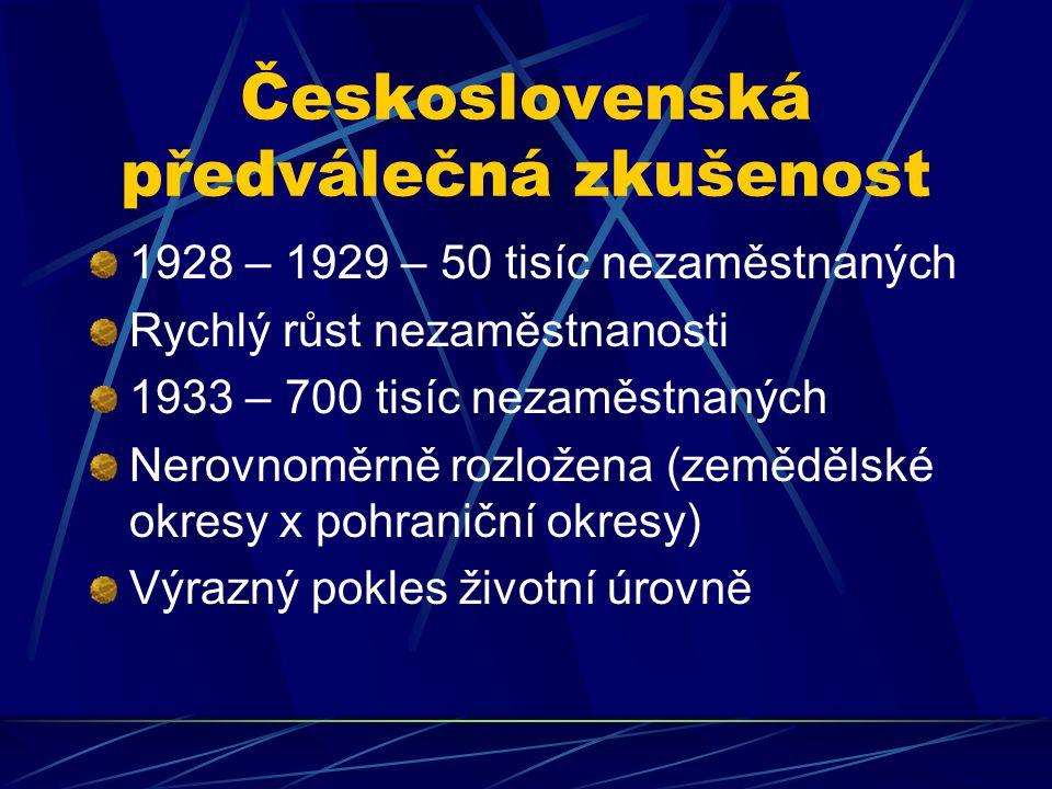 Československá předválečná zkušenost 1928 – 1929 – 50 tisíc nezaměstnaných Rychlý růst nezaměstnanosti 1933 – 700 tisíc nezaměstnaných Nerovnoměrně rozložena (zemědělské okresy x pohraniční okresy) Výrazný pokles životní úrovně