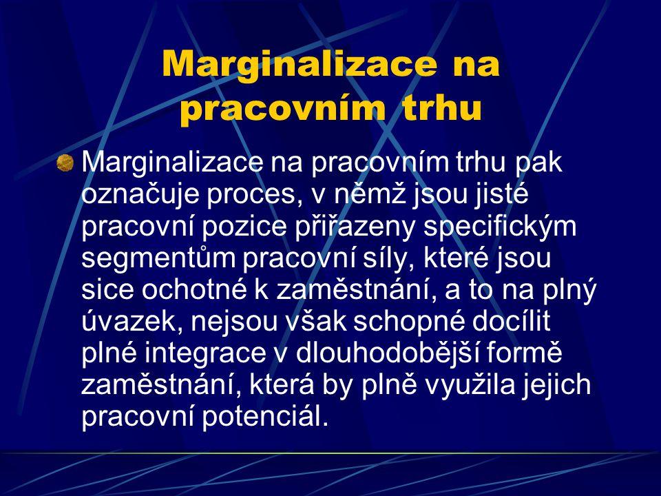 Marginalizace na pracovním trhu Marginalizace na pracovním trhu pak označuje proces, v němž jsou jisté pracovní pozice přiřazeny specifickým segmentům