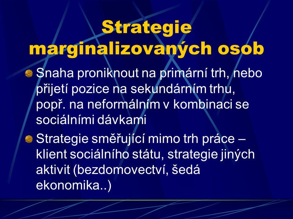 Strategie marginalizovaných osob Snaha proniknout na primární trh, nebo přijetí pozice na sekundárním trhu, popř.