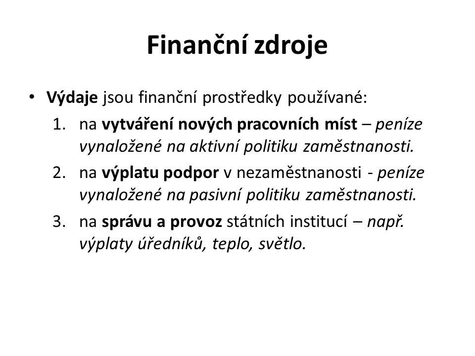 Finanční zdroje Výdaje jsou finanční prostředky používané: 1.na vytváření nových pracovních míst – peníze vynaložené na aktivní politiku zaměstnanosti.