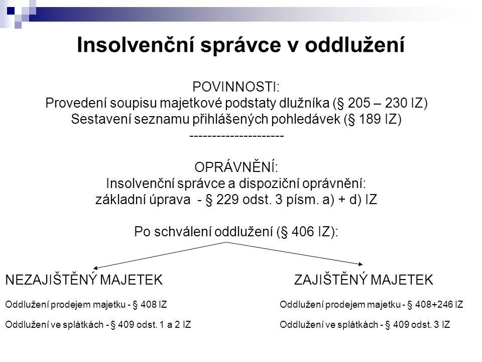 Insolvenční správce v oddlužení POVINNOSTI: Provedení soupisu majetkové podstaty dlužníka (§ 205 – 230 IZ) Sestavení seznamu přihlášených pohledávek (