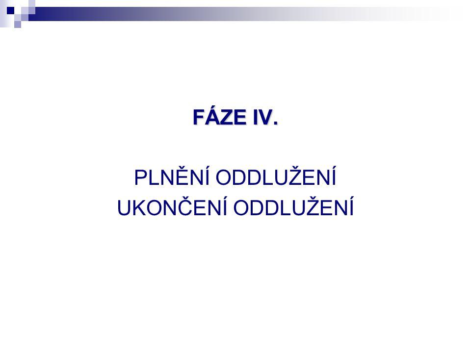 FÁZE IV. PLNĚNÍ ODDLUŽENÍ UKONČENÍ ODDLUŽENÍ