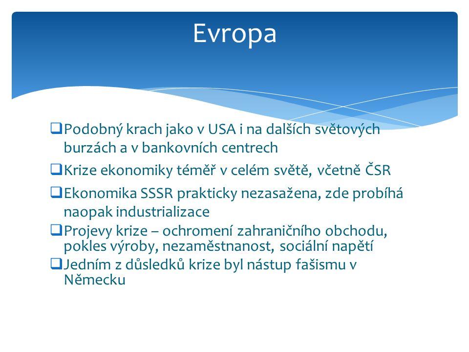  Podobný krach jako v USA i na dalších světových burzách a v bankovních centrech  Krize ekonomiky téměř v celém světě, včetně ČSR  Ekonomika SSSR prakticky nezasažena, zde probíhá naopak industrializace  Projevy krize – ochromení zahraničního obchodu, pokles výroby, nezaměstnanost, sociální napětí  Jedním z důsledků krize byl nástup fašismu v Německu Evropa