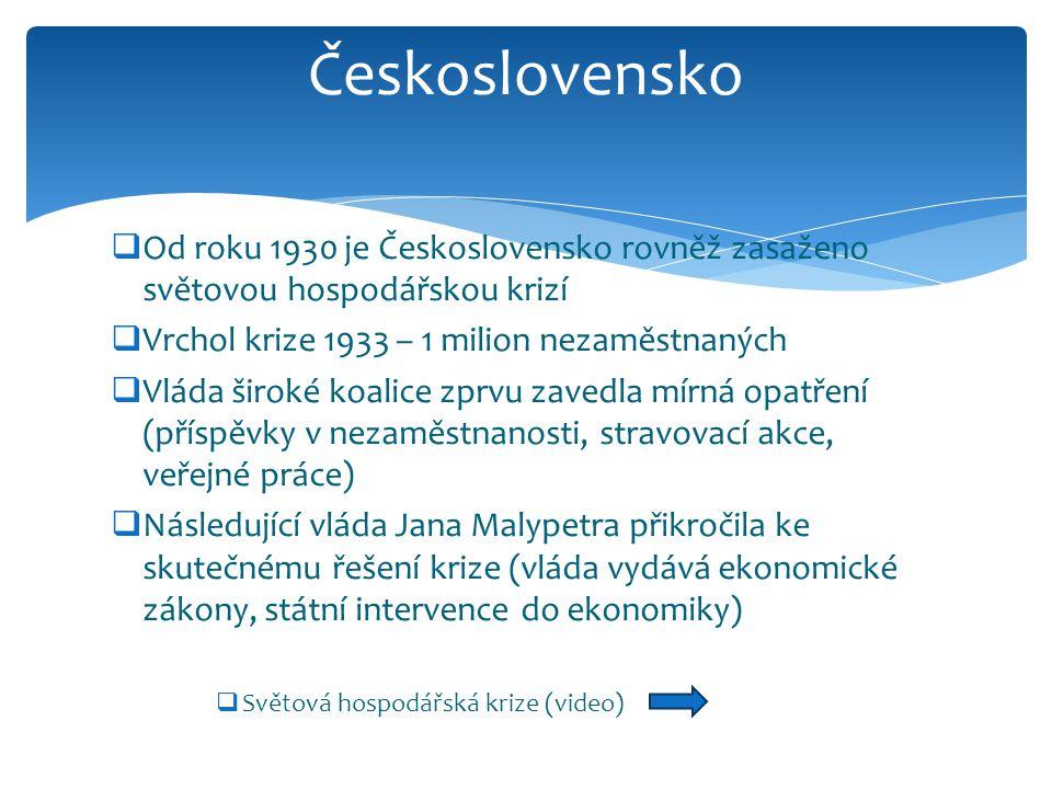  Od roku 1930 je Československo rovněž zasaženo světovou hospodářskou krizí  Vrchol krize 1933 – 1 milion nezaměstnaných  Vláda široké koalice zprvu zavedla mírná opatření (příspěvky v nezaměstnanosti, stravovací akce, veřejné práce)  Následující vláda Jana Malypetra přikročila ke skutečnému řešení krize (vláda vydává ekonomické zákony, státní intervence do ekonomiky)  Světová hospodářská krize (video) Československo