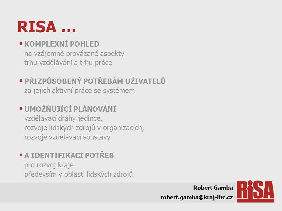 RISA …  KOMPLEXNÍ POHLED na vzájemně provázané aspekty trhu vzdělávání a trhu práce  PŘIZPŮSOBENÝ POTŘEBÁM UŽIVATELŮ za jejich aktivní práce se systémem  UMOŽŇUJÍCÍ PLÁNOVÁNÍ vzdělávací dráhy jedince, rozvoje lidských zdrojů v organizacích, rozvoje vzdělávací soustavy  A IDENTIFIKACI POTŘEB pro rozvoj kraje především v oblasti lidských zdrojů Robert Gamba robert.gamba@kraj-lbc.cz
