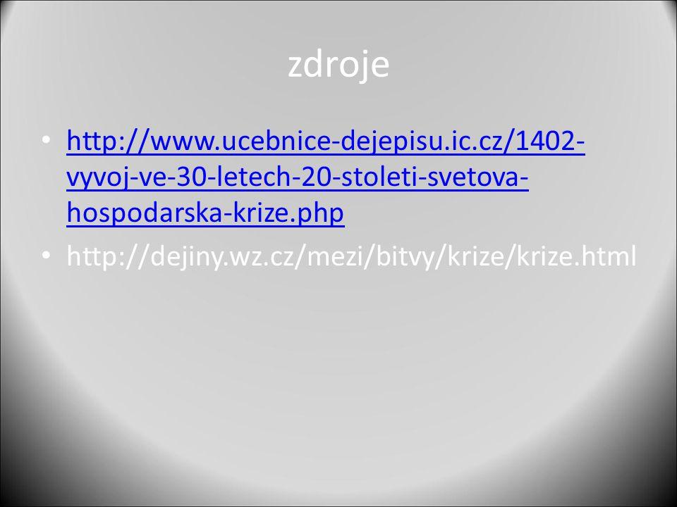 zdroje http://www.ucebnice-dejepisu.ic.cz/1402- vyvoj-ve-30-letech-20-stoleti-svetova- hospodarska-krize.php http://www.ucebnice-dejepisu.ic.cz/1402-