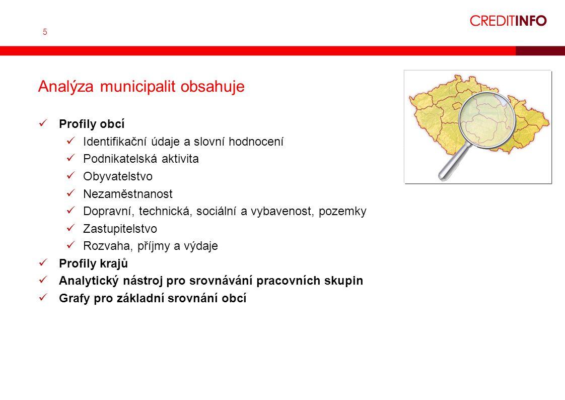 5 Analýza municipalit obsahuje Profily obcí Identifikační údaje a slovní hodnocení Podnikatelská aktivita Obyvatelstvo Nezaměstnanost Dopravní, techni