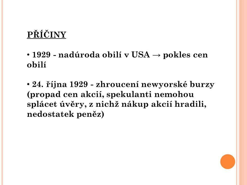 PŘÍČINY 1929 - nadúroda obilí v USA → pokles cen obilí 24. října 1929 - zhroucení newyorské burzy (propad cen akcií, spekulanti nemohou splácet úvěry,