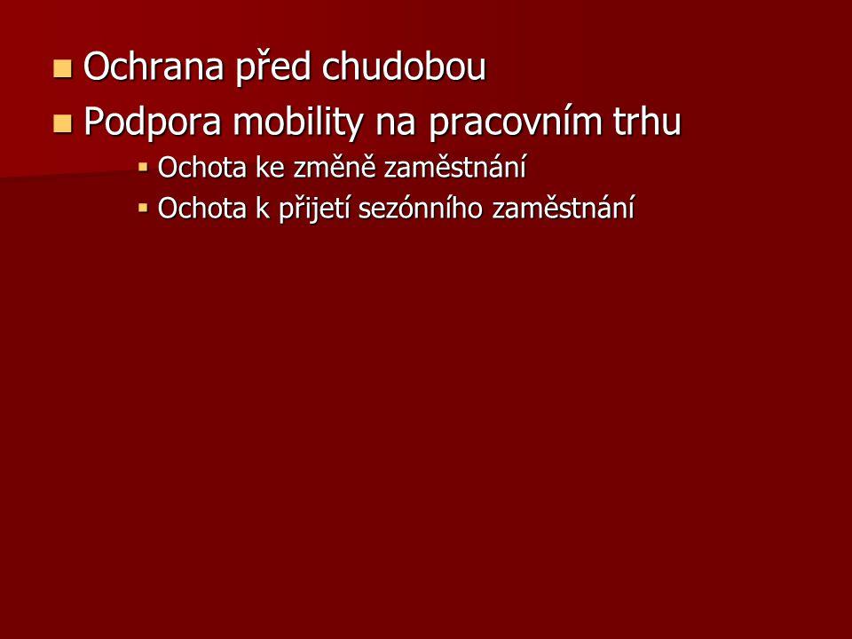 Ochrana před chudobou Ochrana před chudobou Podpora mobility na pracovním trhu Podpora mobility na pracovním trhu  Ochota ke změně zaměstnání  Ochot