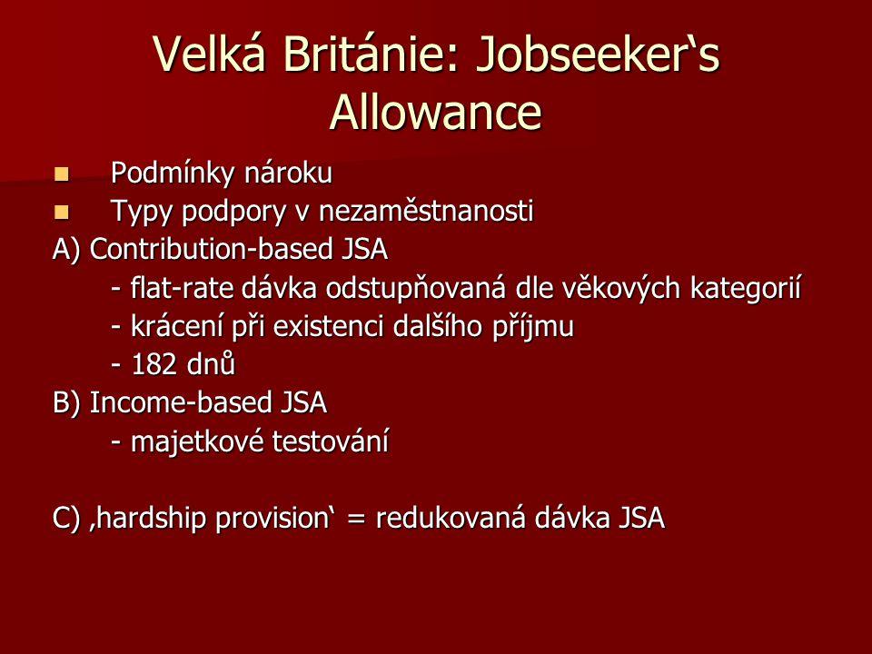 Velká Británie: Jobseeker's Allowance Podmínky nároku Podmínky nároku Typy podpory v nezaměstnanosti Typy podpory v nezaměstnanosti A) Contribution-ba