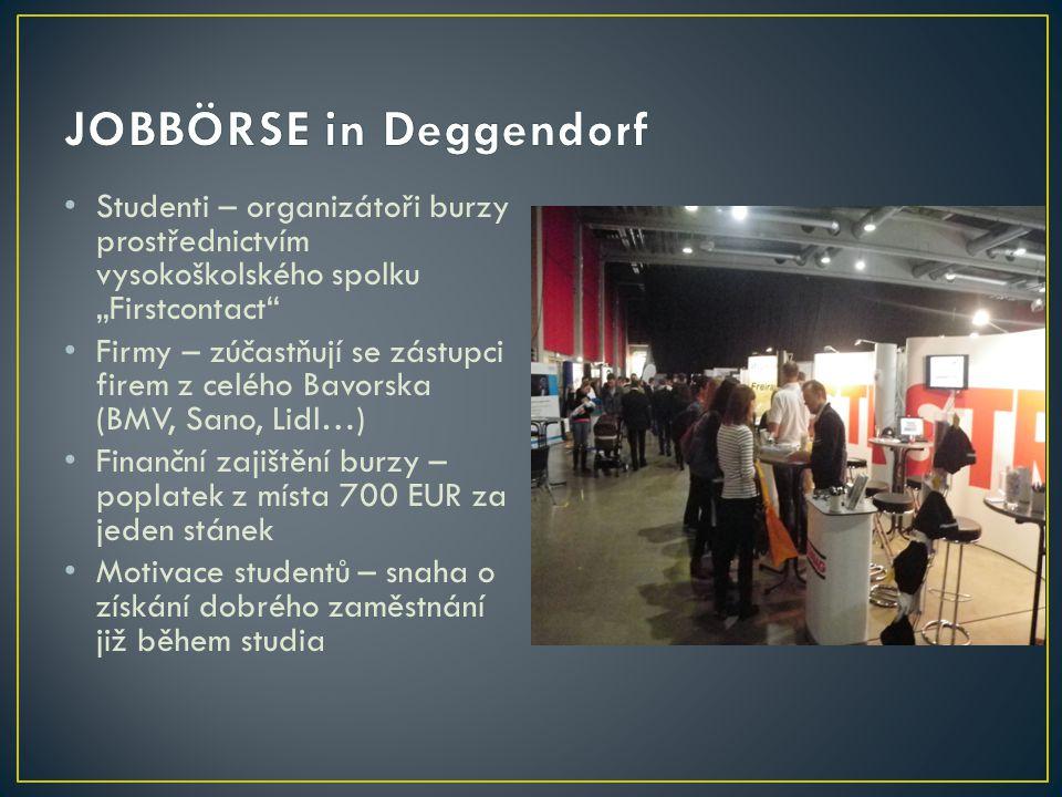 """Studenti – organizátoři burzy prostřednictvím vysokoškolského spolku """"Firstcontact"""" Firmy – zúčastňují se zástupci firem z celého Bavorska (BMV, Sano,"""