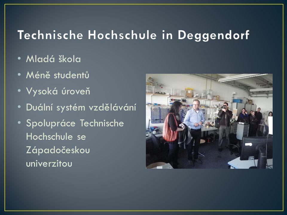 Mladá škola Méně studentů Vysoká úroveň Duální systém vzdělávání Spolupráce Technische Hochschule se Západočeskou univerzitou