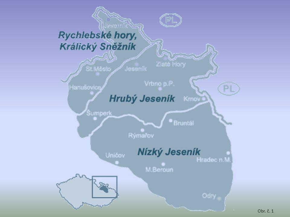 turisticky navštěvovaný kraj léto turistika x zima lyže povrch: pohoří Hrubý a Nízký Jeseník (Praděd 1491 m.n.m.) lesy, pastviny a málo úrodná pole podnebí: drsné a chladné podnebí