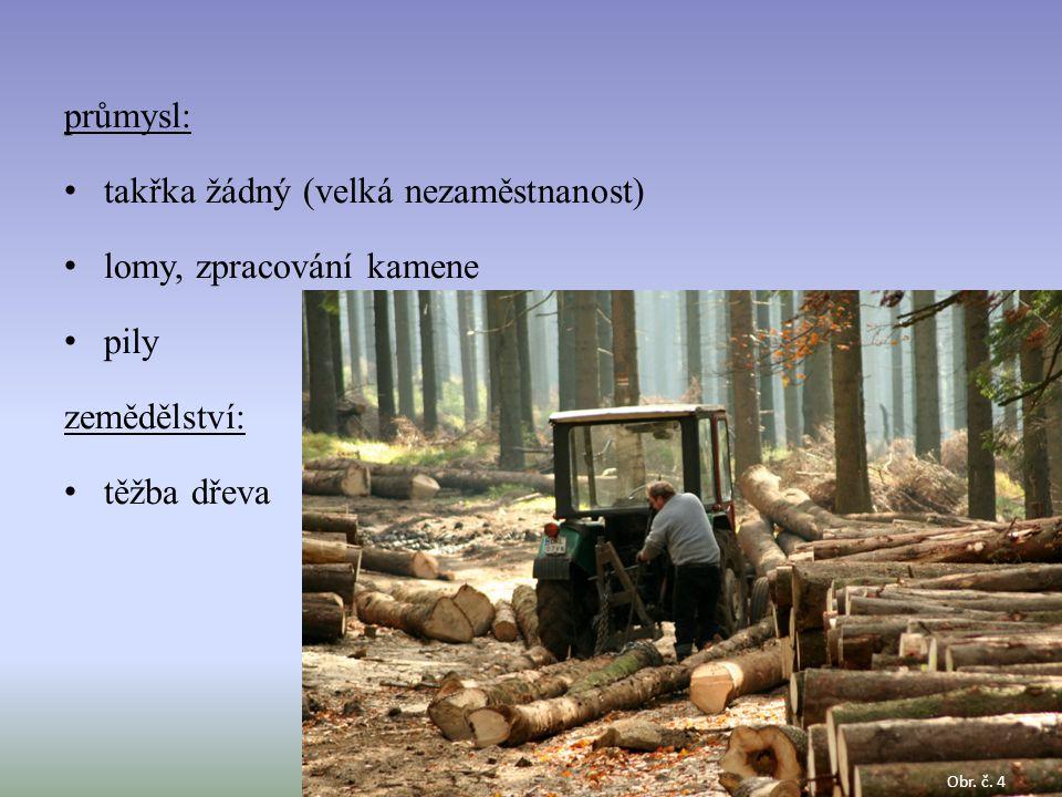 průmysl: takřka žádný (velká nezaměstnanost) lomy, zpracování kamene pily zemědělství: těžba dřeva Obr. č. 4