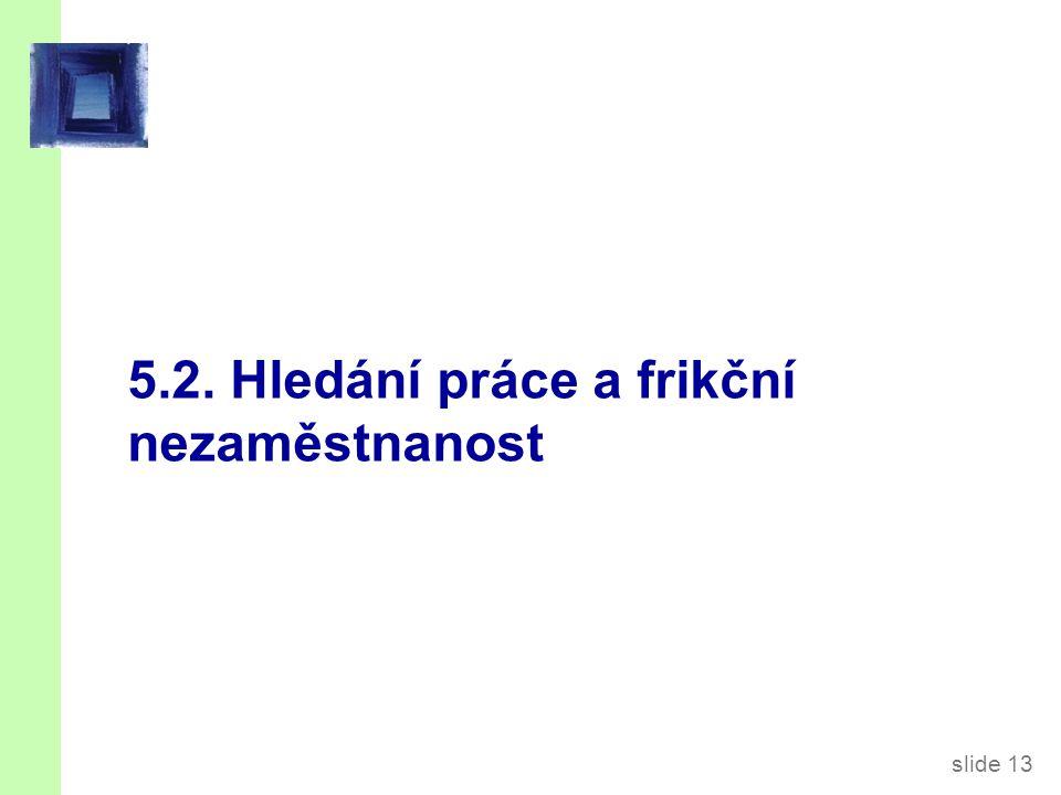 slide 13 5.2. Hledání práce a frikční nezaměstnanost