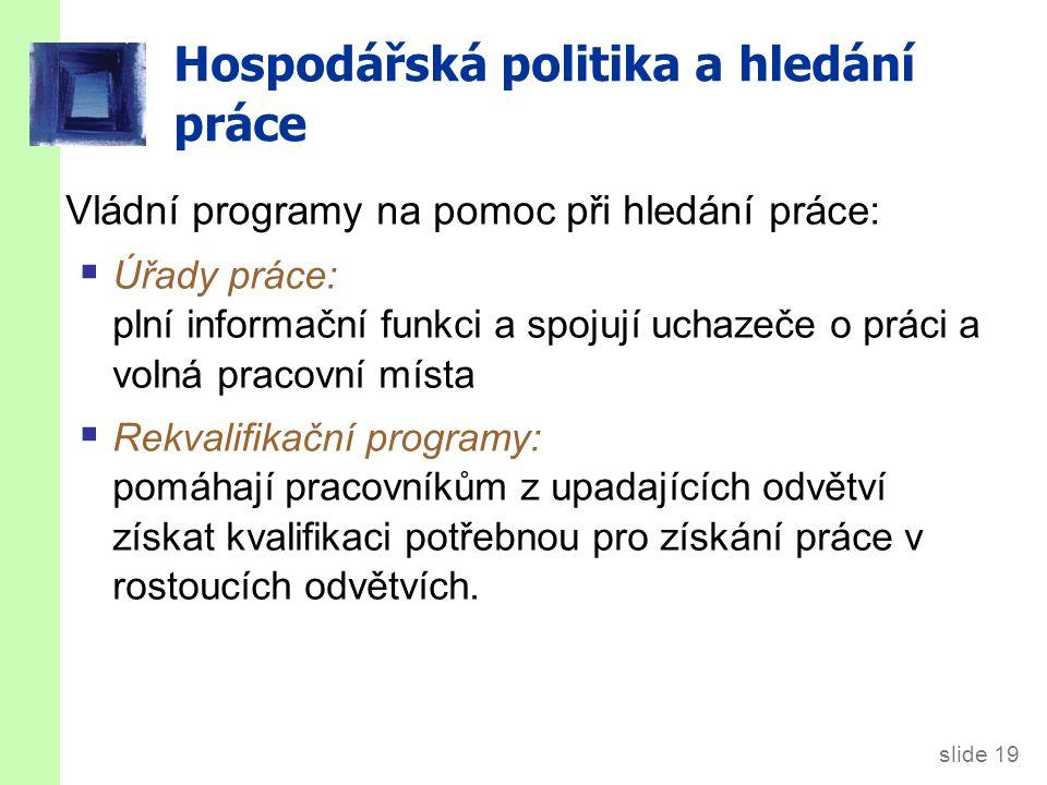 slide 19 Hospodářská politika a hledání práce Vládní programy na pomoc při hledání práce:  Úřady práce: plní informační funkci a spojují uchazeče o p