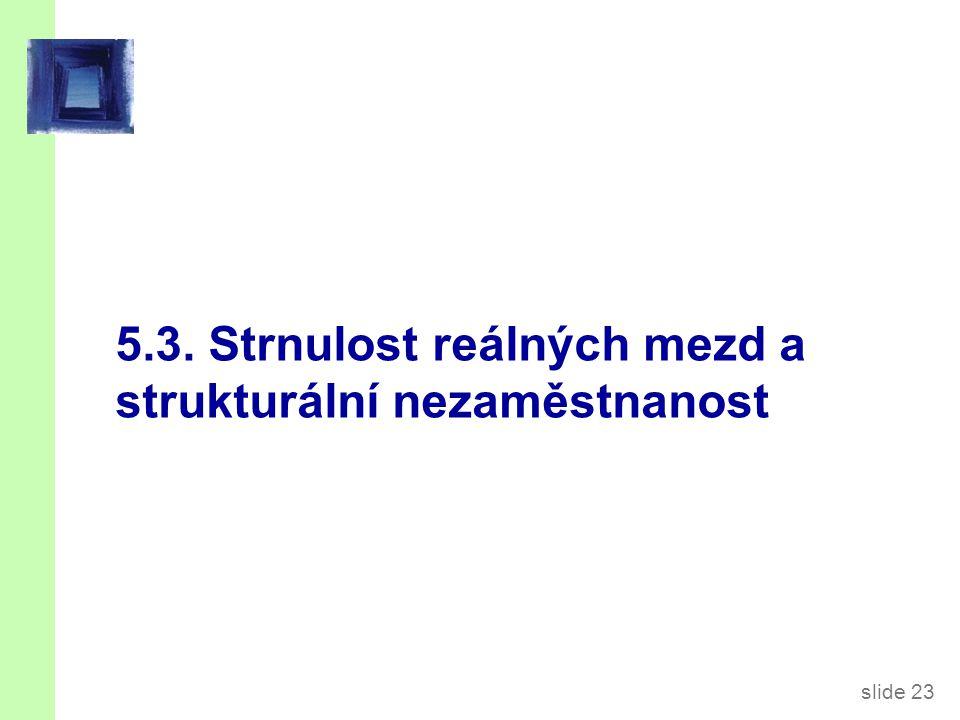 slide 23 5.3. Strnulost reálných mezd a strukturální nezaměstnanost