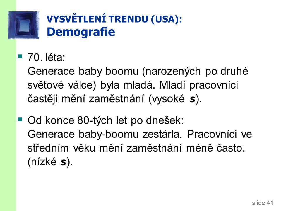 slide 41 VYSVĚTLENÍ TRENDU (USA): Demografie  70. léta: Generace baby boomu (narozených po druhé světové válce) byla mladá. Mladí pracovníci častěji