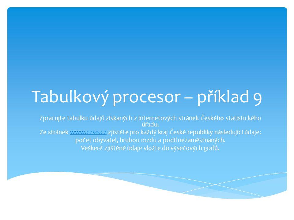 Tabulkový procesor – příklad 9 Zpracujte tabulku údajů získaných z internetových stránek Českého statistického úřadu.