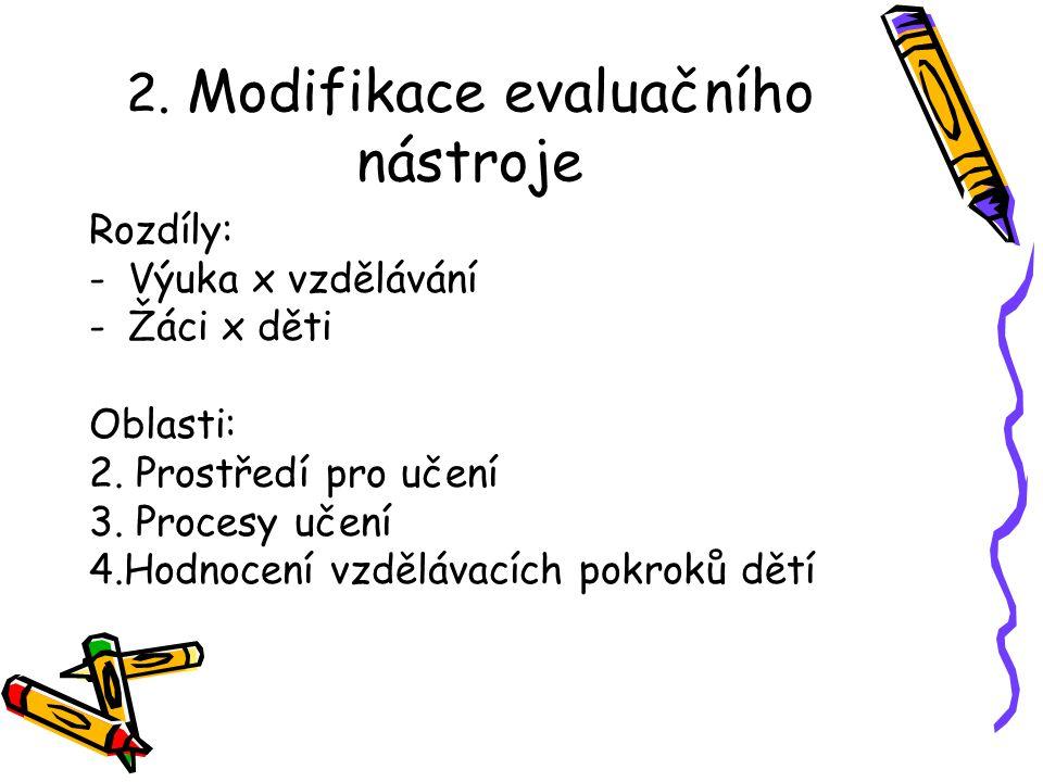 2.Modifikace evaluačního nástroje Rozdíly: -Výuka x vzdělávání -Žáci x děti Oblasti: 2.