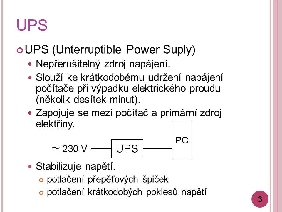 UPS UPS (Unterruptible Power Suply) Nepřerušitelný zdroj napájení.