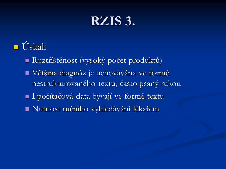 RZIS 3. Úskalí Úskalí Roztříštěnost (vysoký počet produktů) Roztříštěnost (vysoký počet produktů) Většina diagnóz je uchovávána ve formě nestrukturova