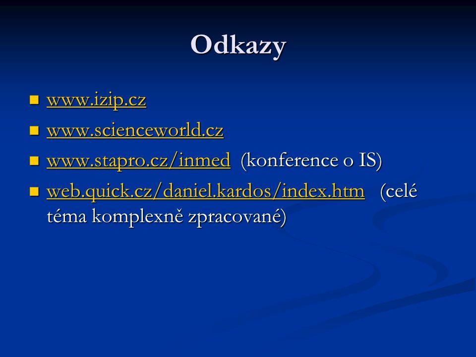 Odkazy www.izip.cz www.izip.cz www.izip.cz www.scienceworld.cz www.scienceworld.cz www.scienceworld.cz www.stapro.cz/inmed (konference o IS) www.stapr