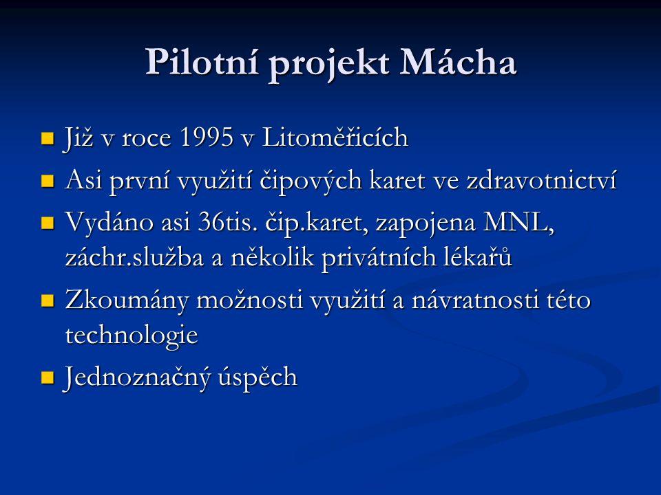 Pilotní projekt Mácha Již v roce 1995 v Litoměřicích Již v roce 1995 v Litoměřicích Asi první využití čipových karet ve zdravotnictví Asi první využit
