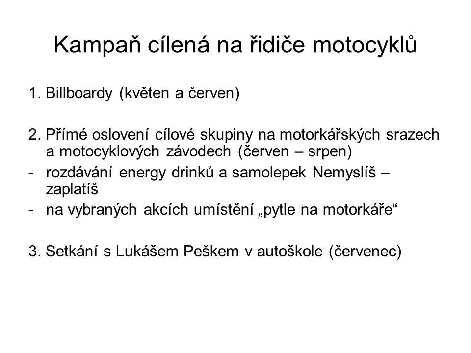 Kampaň cílená na řidiče motocyklů 1. Billboardy (květen a červen) 2.