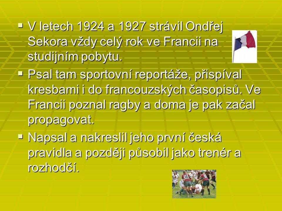  V letech 1924 a 1927 strávil Ondřej Sekora vždy celý rok ve Francii na studijním pobytu.  Psal tam sportovní reportáže, přispíval kresbami i do fra
