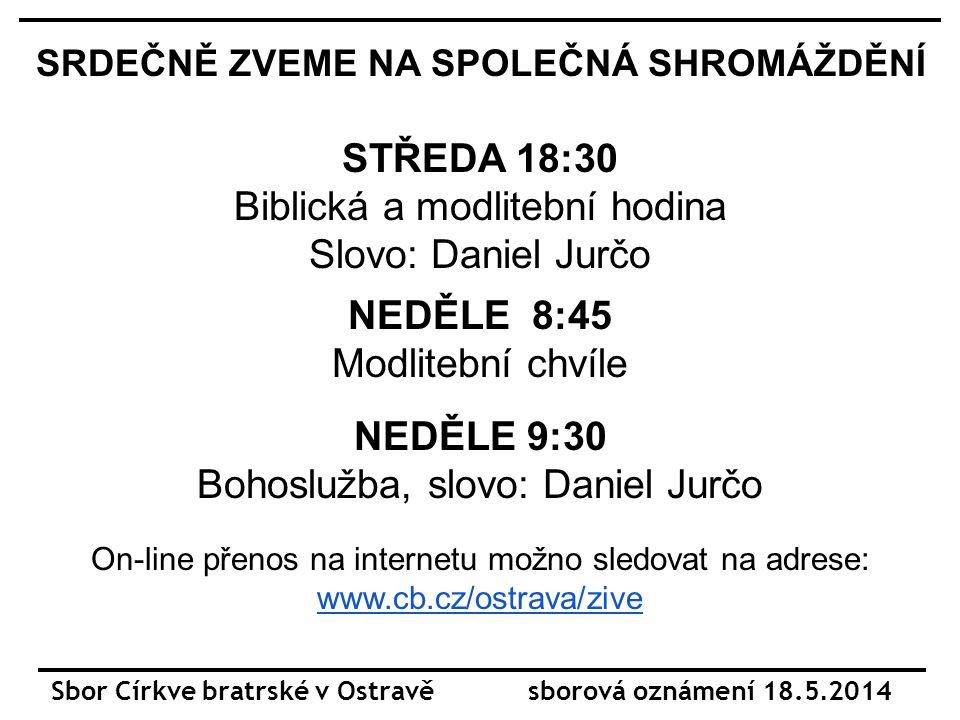 Sbor Církve bratrské v Ostravě sborová oznámení 18.5.