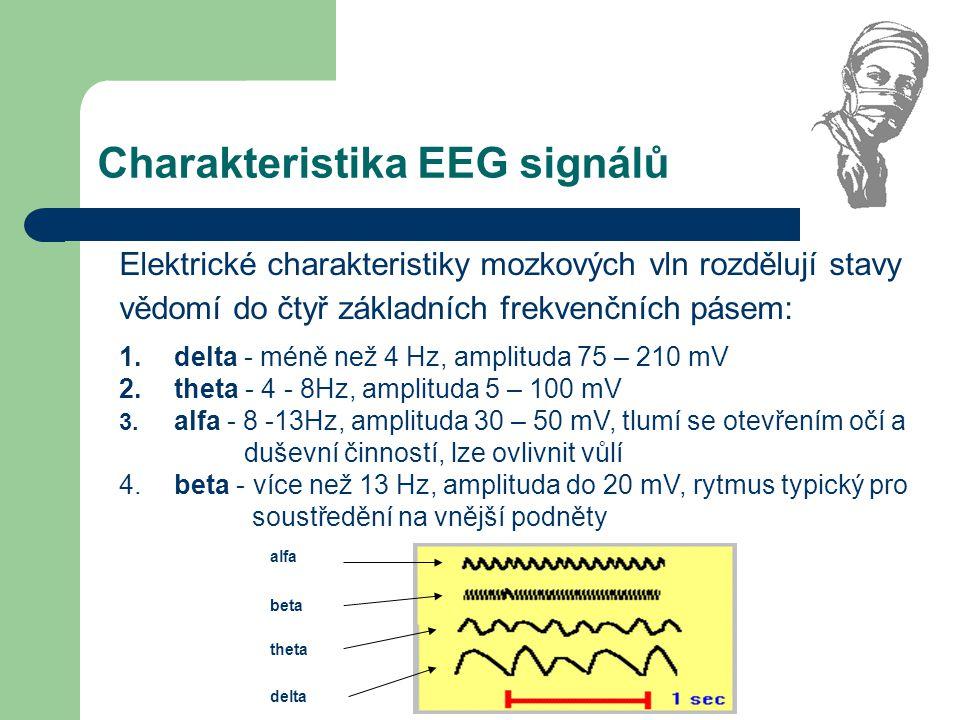 Charakteristika EEG signálů Elektrické charakteristiky mozkových vln rozdělují stavy vědomí do čtyř základních frekvenčních pásem: 1. delta - méně než