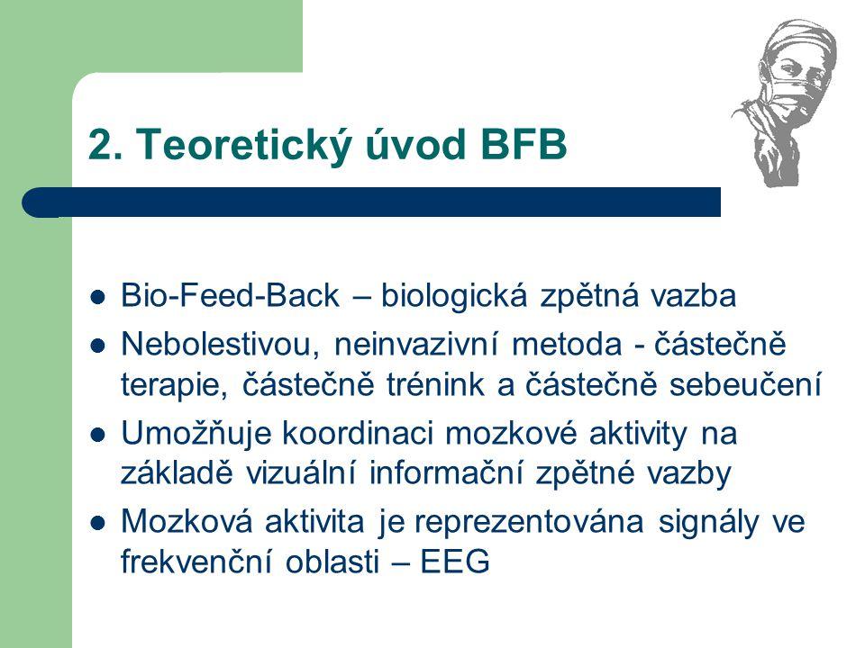 2. Teoretický úvod BFB Bio-Feed-Back – biologická zpětná vazba Nebolestivou, neinvazivní metoda - částečně terapie, částečně trénink a částečně sebeuč