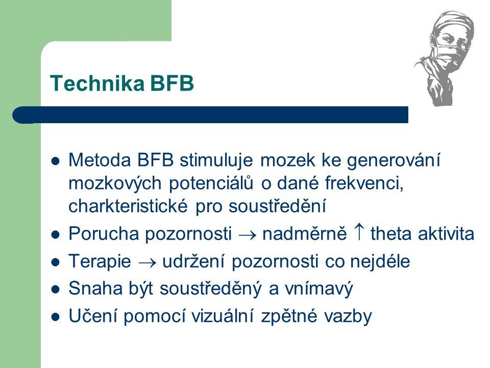 Technika BFB Metoda BFB stimuluje mozek ke generování mozkových potenciálů o dané frekvenci, charkteristické pro soustředění Porucha pozornosti  nadm