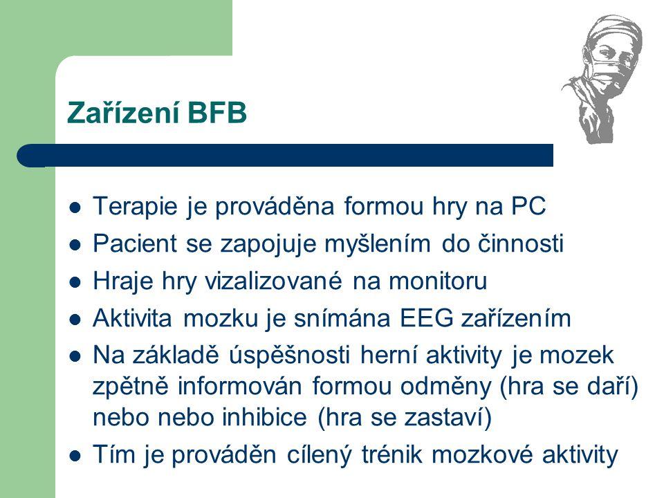 Zařízení BFB Terapie je prováděna formou hry na PC Pacient se zapojuje myšlením do činnosti Hraje hry vizalizované na monitoru Aktivita mozku je snímá