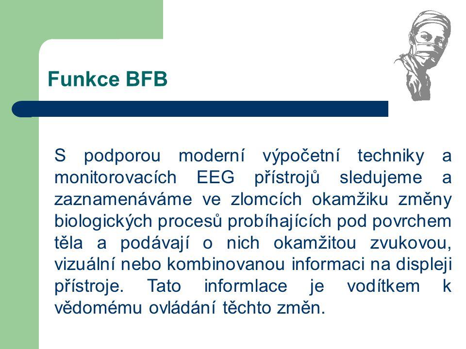 Druhy indikace soustředění trénink s indikací svalového napětí (EMG-BFB) trénink s indikací mozkových vln (EEG-BFB) trénink s indikací teploty pokožky (TEMP-BFB) trénink s indikací el.