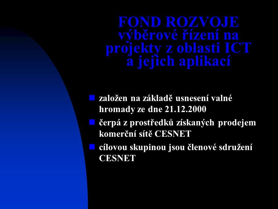 FOND ROZVOJE výběrové řízení na projekty z oblasti ICT a jejich aplikací založen na základě usnesení valné hromady ze dne 21.12.2000 čerpá z prostředků získaných prodejem komerční sítě CESNET cílovou skupinou jsou členové sdružení CESNET