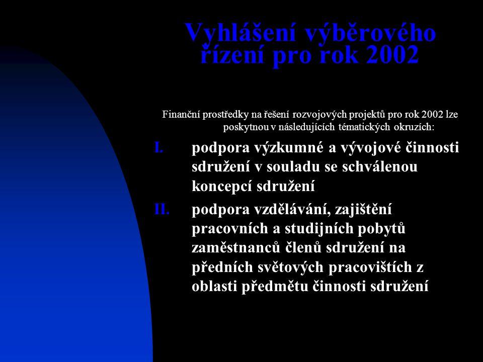 Vyhlášení výběrového řízení pro rok 2002 Finanční prostředky na řešení rozvojových projektů pro rok 2002 lze poskytnou v následujících tématických okr