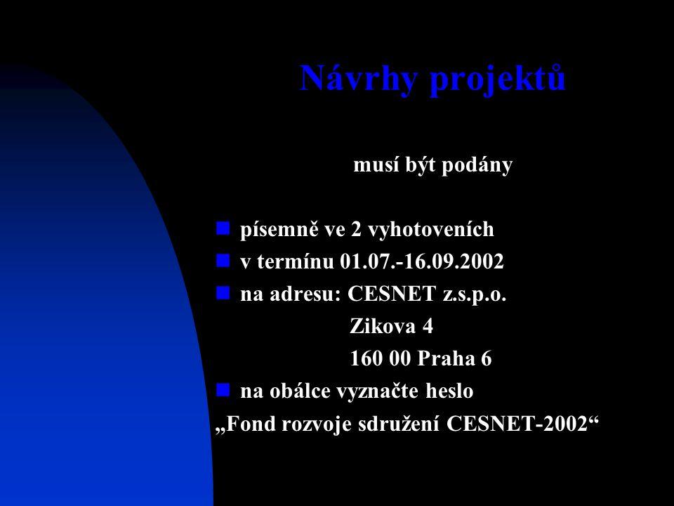 Návrhy projektů musí být podány písemně ve 2 vyhotoveních v termínu 01.07.-16.09.2002 na adresu: CESNET z.s.p.o. Zikova 4 160 00 Praha 6 na obálce vyz